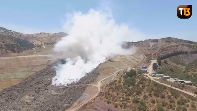 Imágenes de drone muestran el incendio del vertedero Santa Marta.
