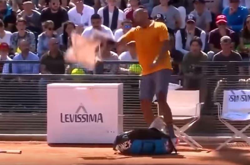 Expulsan a Nick Kyrgios del Master 1000 de Roma por lanza una silla a la cancha