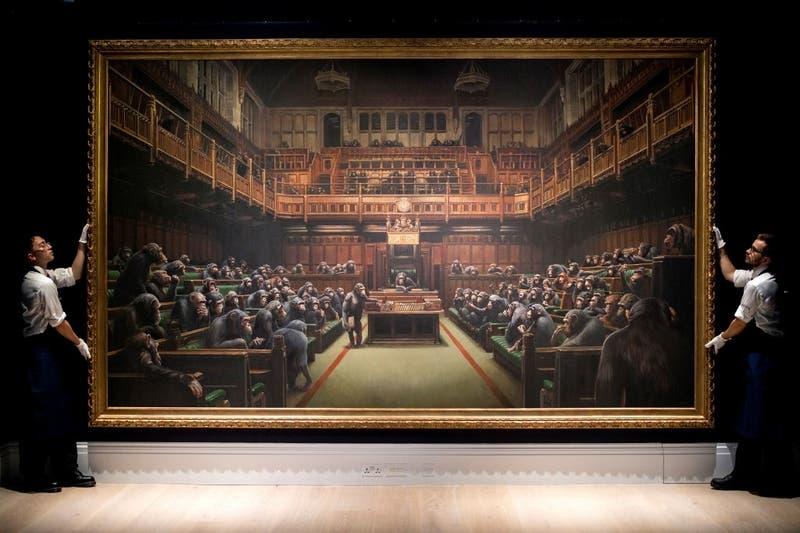 Una pintura de Banksy fue subastada en 11,1 millones de euros y marcó un récord para el artista