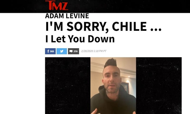 """I'm sorry, Chile"": Así informó TMZ la polémica de Adama Levine en Viña 2020"