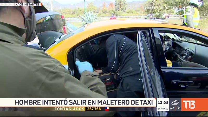 [VIDEO] Hombre intenta burlar control sanitario al interior del maletero de un taxi en Curacaví