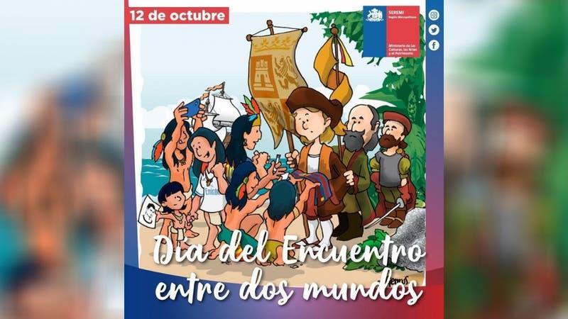 Seremi de Cultura pide disculpas tras publicar controvertido afiche sobre el 12 de octubre