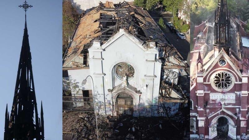 El día después de los destrozos: Así quedaron las iglesias quemadas después del 18-O