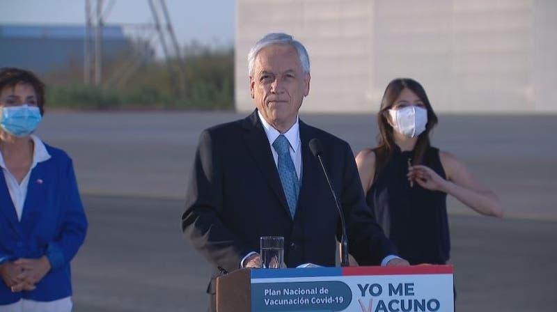"""Piñera y llegada de vacunas a Chile: """"Vamos a tener envíos semanales que se van a ir incrementando"""""""