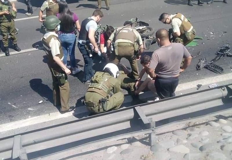Dos carabineros atropellados tras persecución en Autopista Central