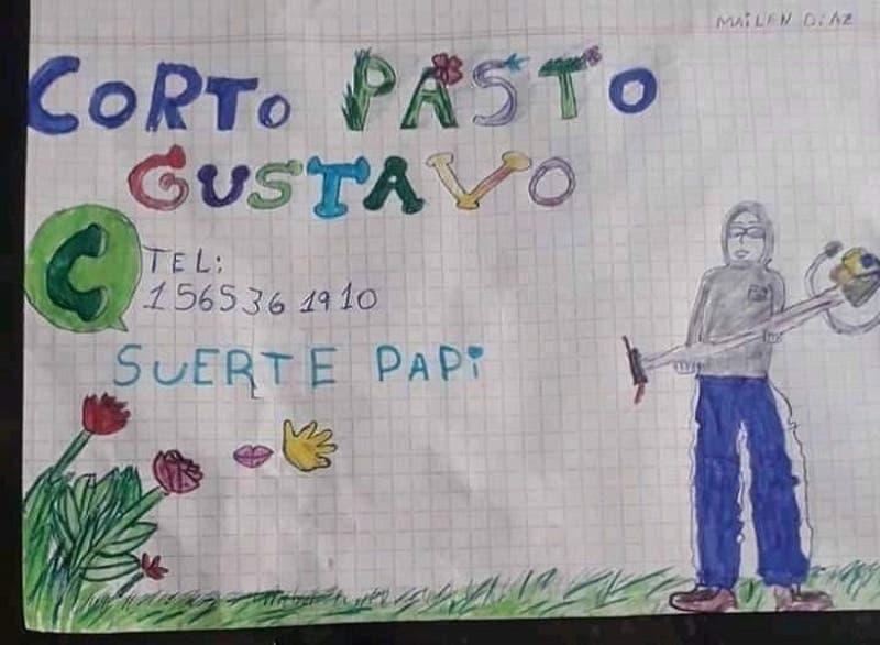 """""""Suerte papi"""": Niña de 9 años hace tierno dibujo para que su padre pueda conseguir trabajo"""