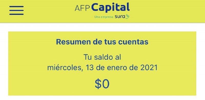 """Afiliados de AFP Capital reportaron tener """"saldo $0"""" en sus cuentas: AFP dijo que fue un """"incidente"""""""