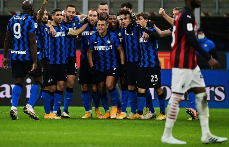 Inter gana el derbi ante Milan con Alexis y Vidal en cancha todo el partido y avanza en Copa Italia