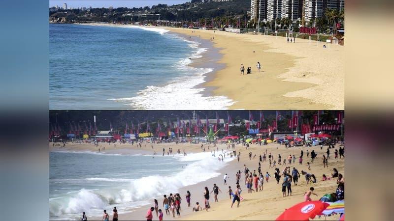 El contraste de las playas con y sin cuarentena