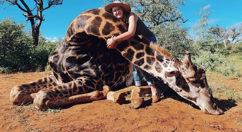 Fue su regalo de San Valentín: mujer caza una jirafa y se fotografió con el corazón en la mano