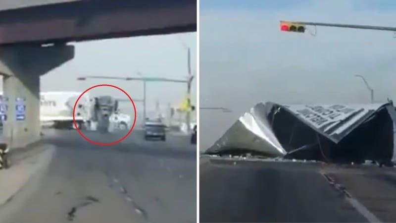 [VIDEO] Camión mezclador de cemento chocó y partió en dos a otro que transportaba cervezas en EE.UU