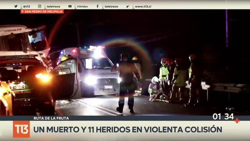 [VIDEO] Un muerto y 11 heridos en violento accidente en San Pedro de Melipilla