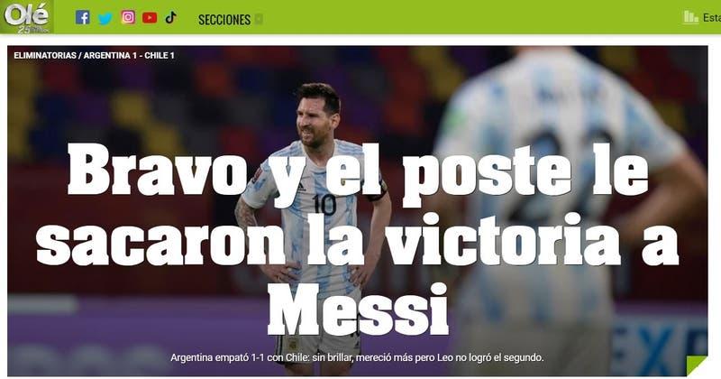 """""""Bravo y el poste le sacaron la victoria a Messi"""": Reacción de prensa argentina al empate ante Chile"""