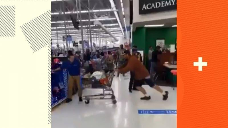 [VIDEO] Cliente protagoniza pelea con trabajador de supermercado y termina noqueado
