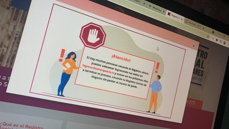 """Registro Social de Hogares: Ministerio de Desarrollo Social recomienda """"volver en los próximos días"""""""
