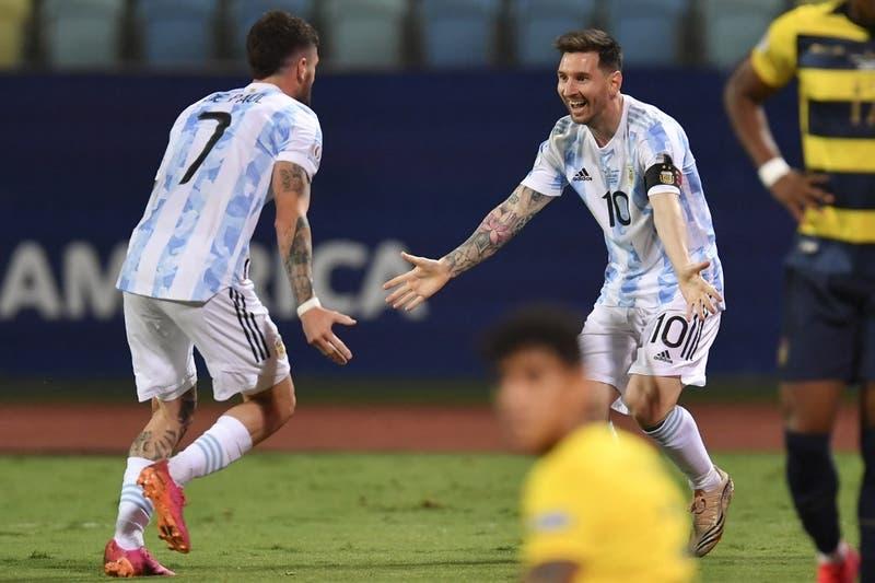 Argentina vence sin brillar a Ecuador y está en la semifinal de la Copa América