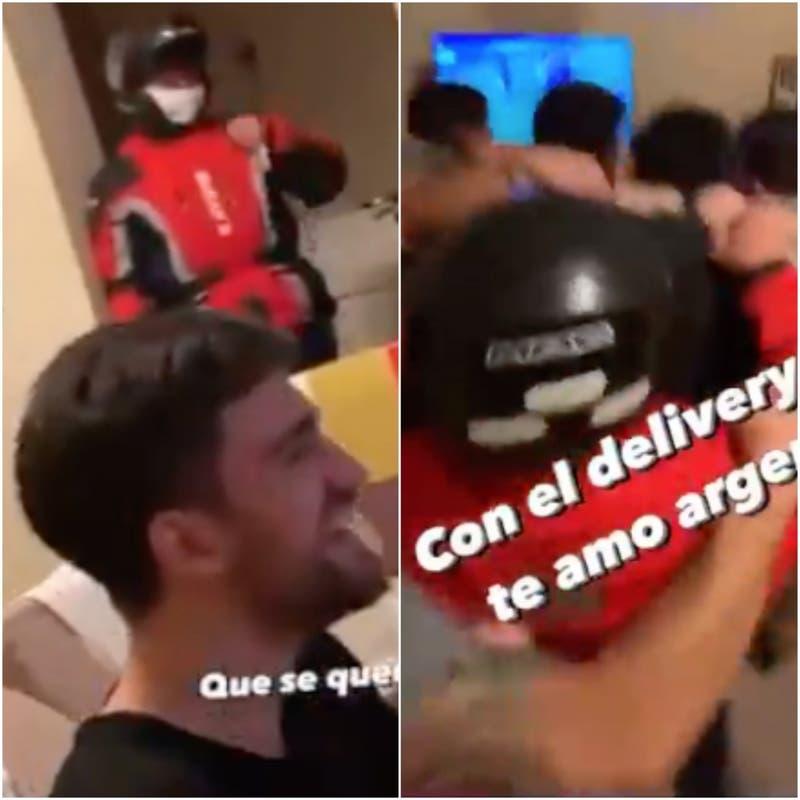 Repartidor fue a dejar pedido en final de Copa América y se quedó festejando con dueños de casa