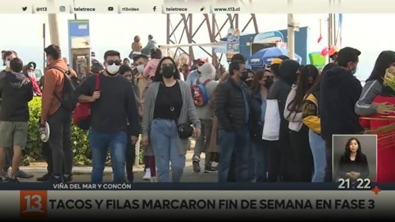 [VIDEO] Tacos y filas marcaron fin de semana en fase 3 en Viña del Mar