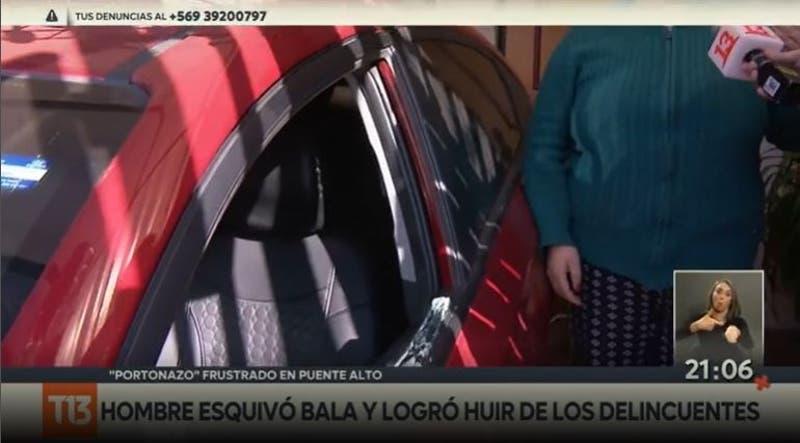 """[VIDEO] Hombre """"esquivó"""" un disparo y arrancó de """"portonazo"""" en Puente Alto"""