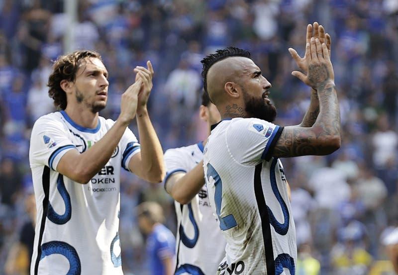 Con Vidal en cancha y Alexis en la banca, el Inter no pasó del empate ante la Sampdoria