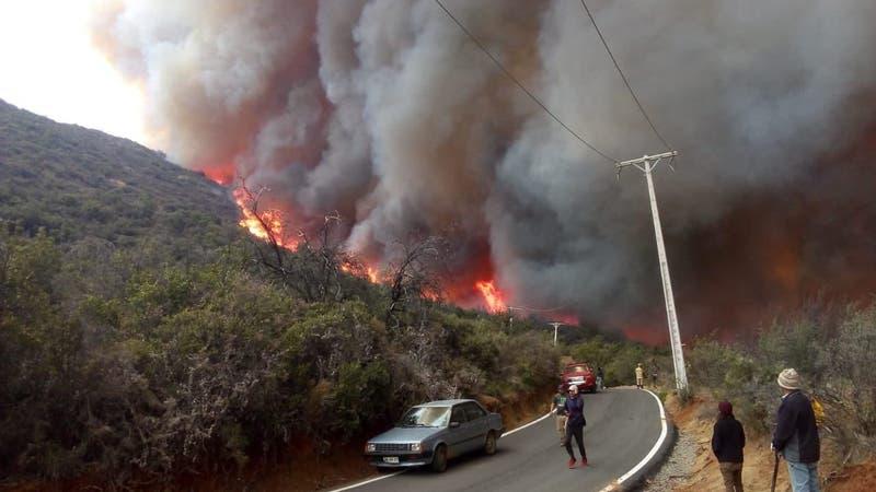 Alerta roja en Tiltil por incendio forestal: Al menos 12 viviendas consumidas