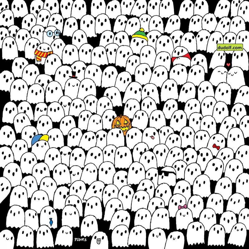 Reto de miedo: ¿Puedes encontrar al panda en una manada de fantasmas?