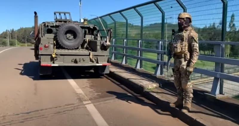 La Araucanía: Ejército apoya controles en ruta Temucuicui y helicóptero sobrevuela comunidades