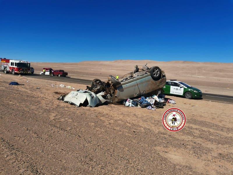 Accidente en ruta entre Antofagasta y Taltal deja un bebé fallecido y cuatro heridos
